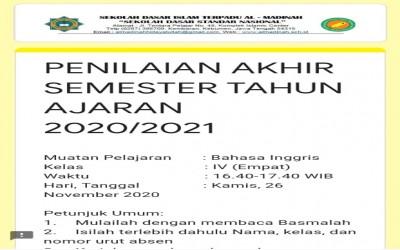 Penilaian Akhir Semester Tahun Ajaran 2020/2021